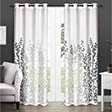 Exclusive Home Wilshire Burnout Sheer Grommet Top Curtain Panel Pair, Winter White, 54x96, 2 Piece