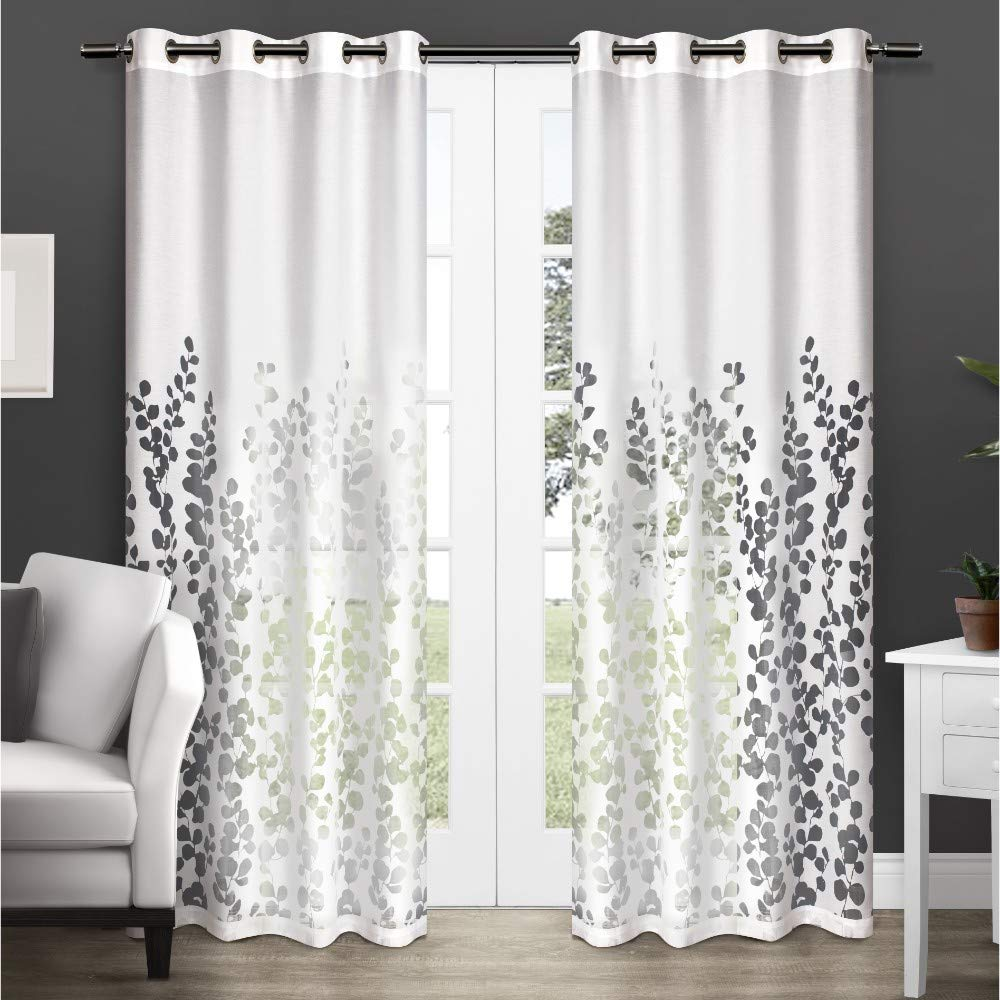 "Exclusive Home Curtains Wilshire Burnout Sheer Window Curtain Panel Pair with Grommet Top, 96"" Length, White, 2 Piece"
