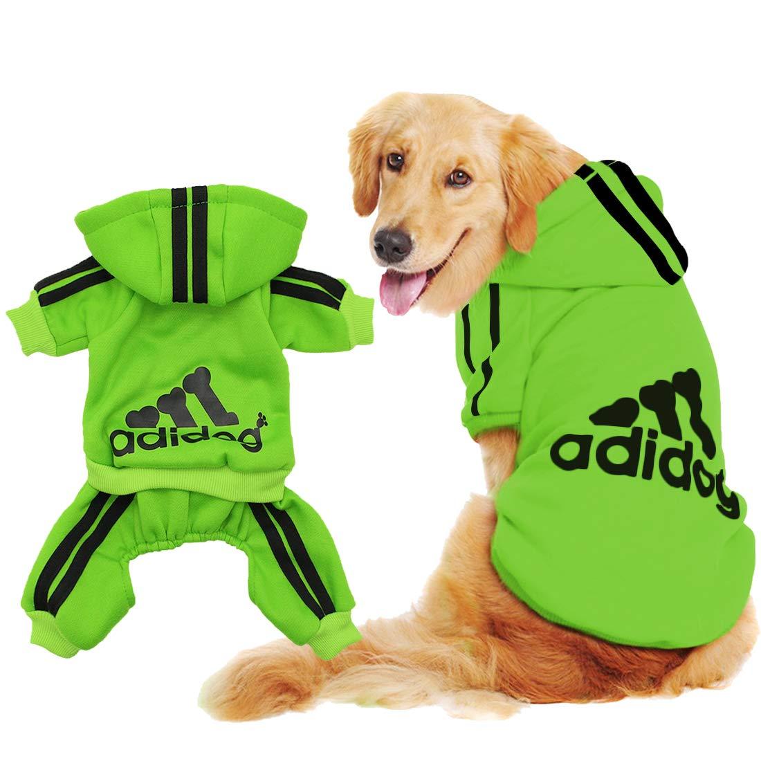 Scheppend Original Adidog Big Dog Large Clothes Sport Hoodies Sweatshirt Pet Winter Coat Retriever Outfits, Green 6XL
