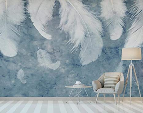 Yoomay Nordic White Feather Wallpaper Mural Azul Acuarela