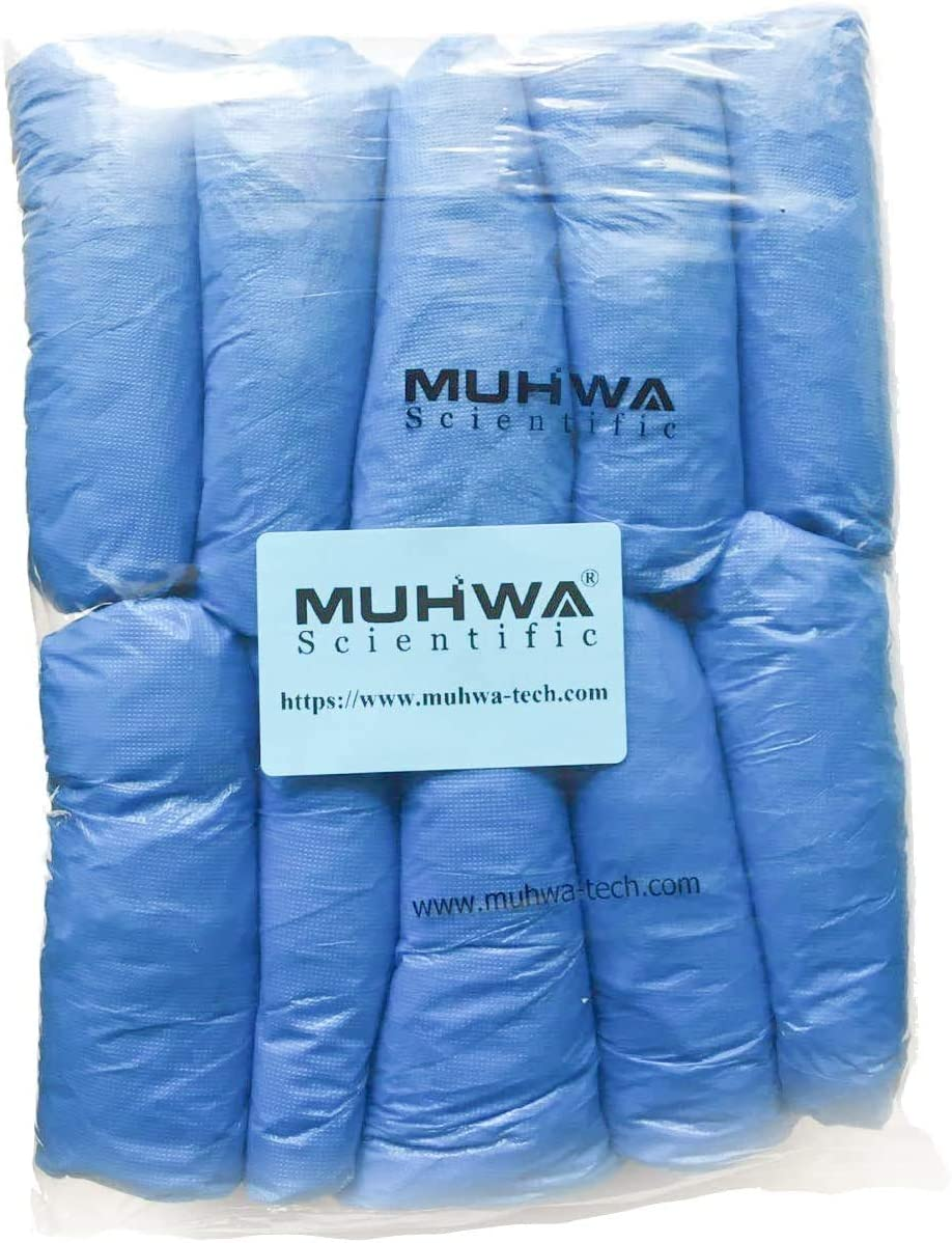 MUHWA Blue CPE Disposable Boot & Shoe Covers (100 Pieces), One Size Fits Most 3g/Piece