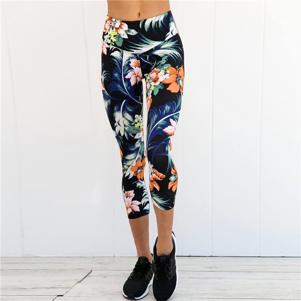 Womens Fashion Flower Print Sports Trousers Workout Gym Fitness Yoga Slim Leggings