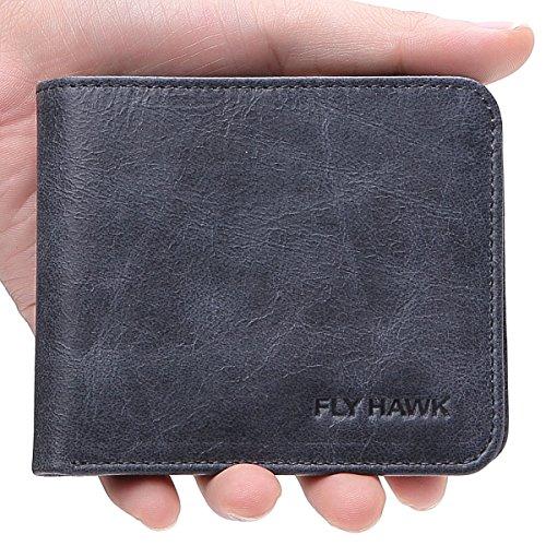 FlyHawk RFID Blocking Genuine Leather Wallets Mens Biford MiniSlim Size Wallet (Mini Wallet-RFID Blocking, Blue-Classic)