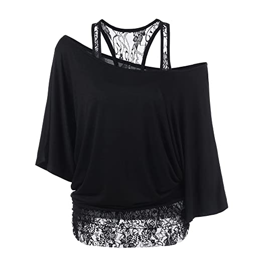 Handyulong Women Shirts Teen Girls Casual Long Sleeve One Side Off Shoulder Lace  Patchwork Tunic T