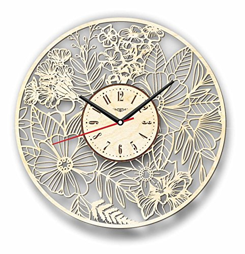 Cheap 7ArtsStudio Flowers Wall Clock Made Wood – Perfect Beautifully Cut – Decorate Your Home Modern Art – Unique Gift Him Her – Size 12 Inches