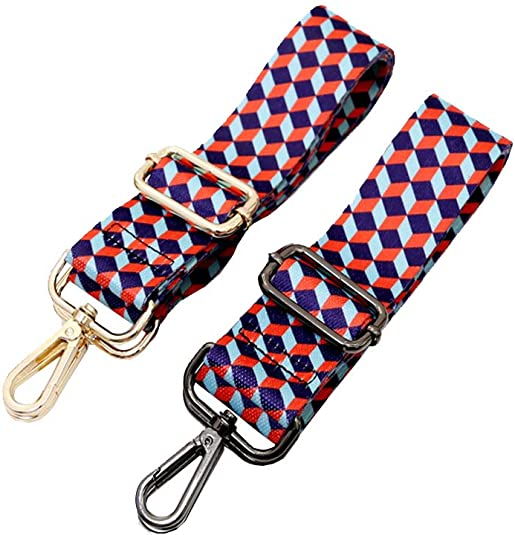 Umily 3.8cm Wide 80-120cm Length Multicolor Canvas Strap Replacement Purse Strap Removable Crossbody Strap Gold Metal
