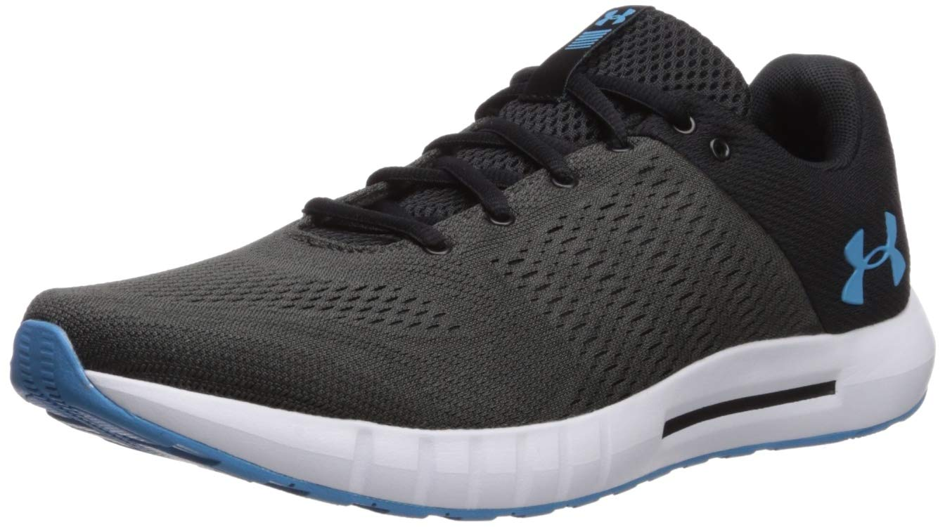 Under Armour Men's Micro G Pursuit Running Shoe, Black (002)/White, 9 by Under Armour (Image #1)
