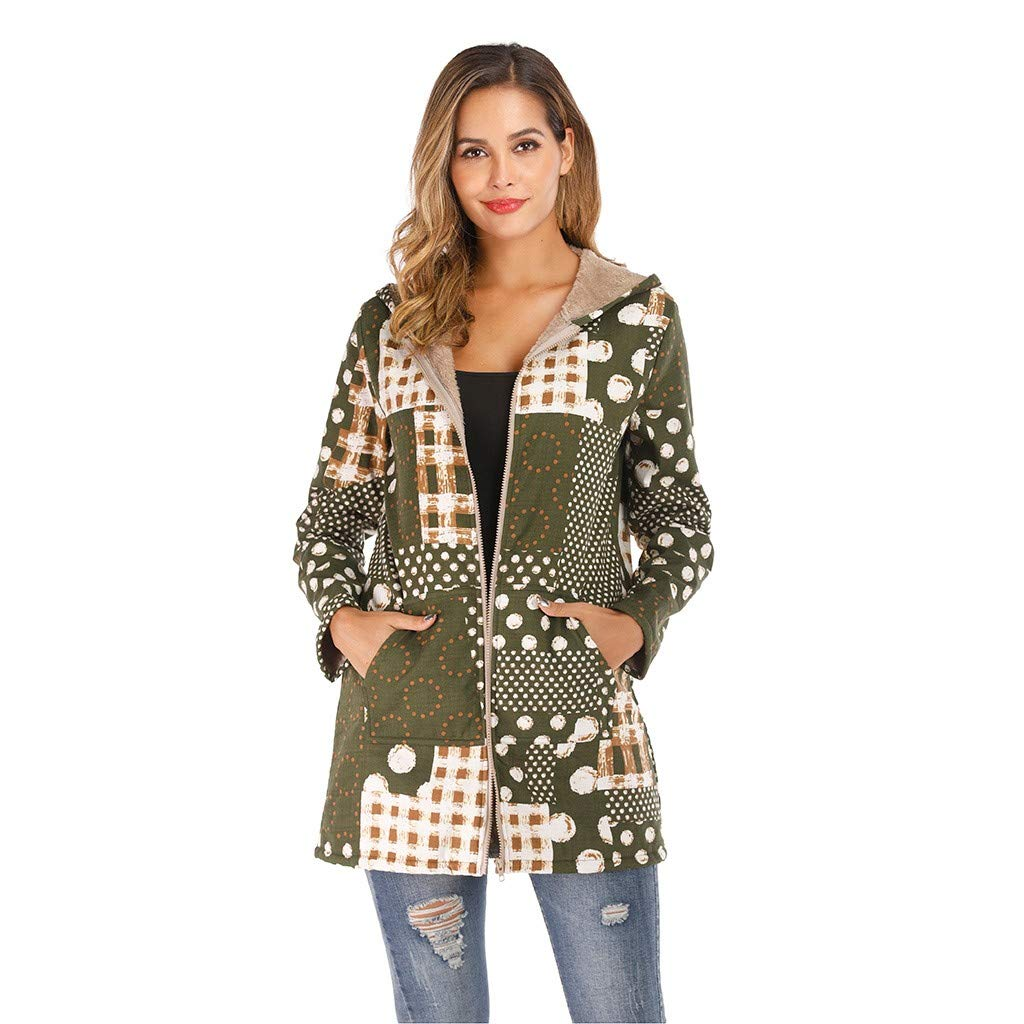 Eoeth Womens Winter Warm Outwear Print Hooded with Pockets Vintage Coats Cardigan Sweatshirt Hoodie Overcoat Blouse Green by Eoeth