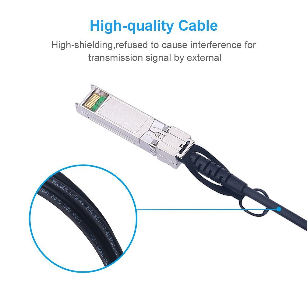 Quanta D-link 10Gbase SFP+ DAC Cable 2m Supermicro Solarflare PaloAlto F5 and other devices Direct Attach Copper Twinax Cable Ubiquiti ZET Mikrotik Passive Compatible for Intel XDACBL2M