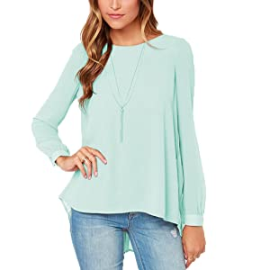 FCYOSO Women's Loose Casual Solid Long Sleeve Chiffon Shirt Tops Blouse (US,S/Asia,M) Green