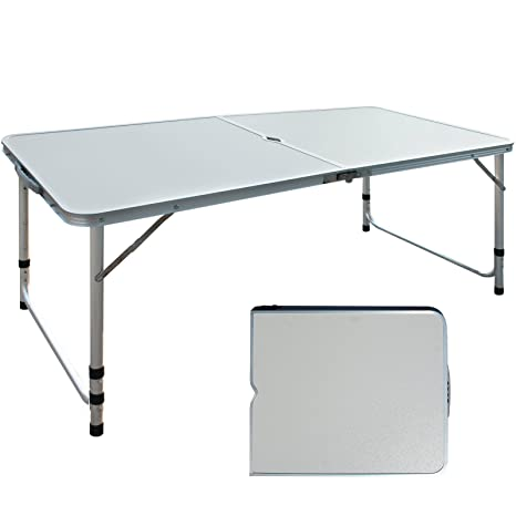Amazon idealchoiceproduct height adjustable folding camping idealchoiceproduct height adjustable folding camping table portable picnic table patio outdoor furniture utility table party dining watchthetrailerfo