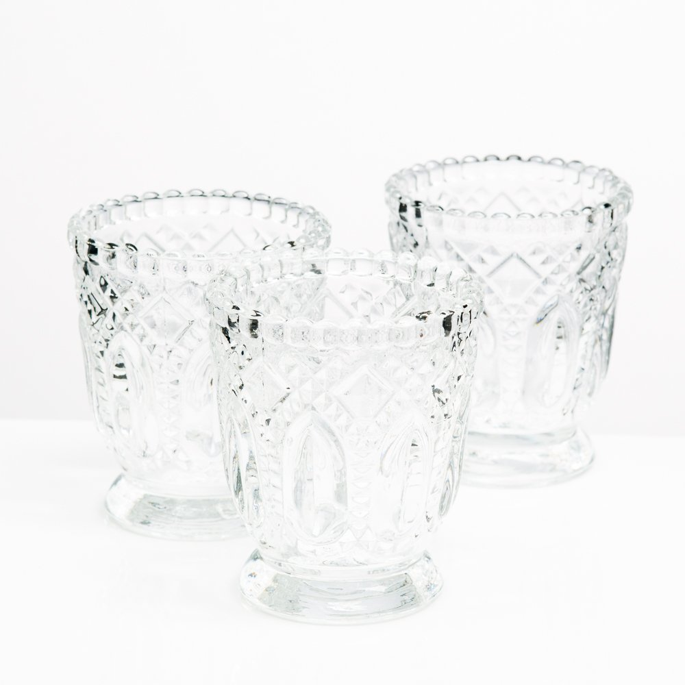 Richland Votive Holder Clear Textured Glass With Base Set of 48 by Richland