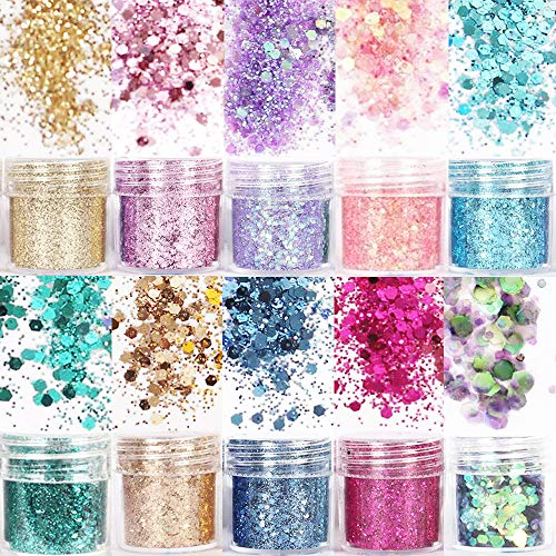 10 Boxes Holographic Body Glitter Sequins,Hair Glitter for Festive Makeup,Chunky Glitter for Eyes, Hair, Body,Nail,Face,Temporary Tattoos
