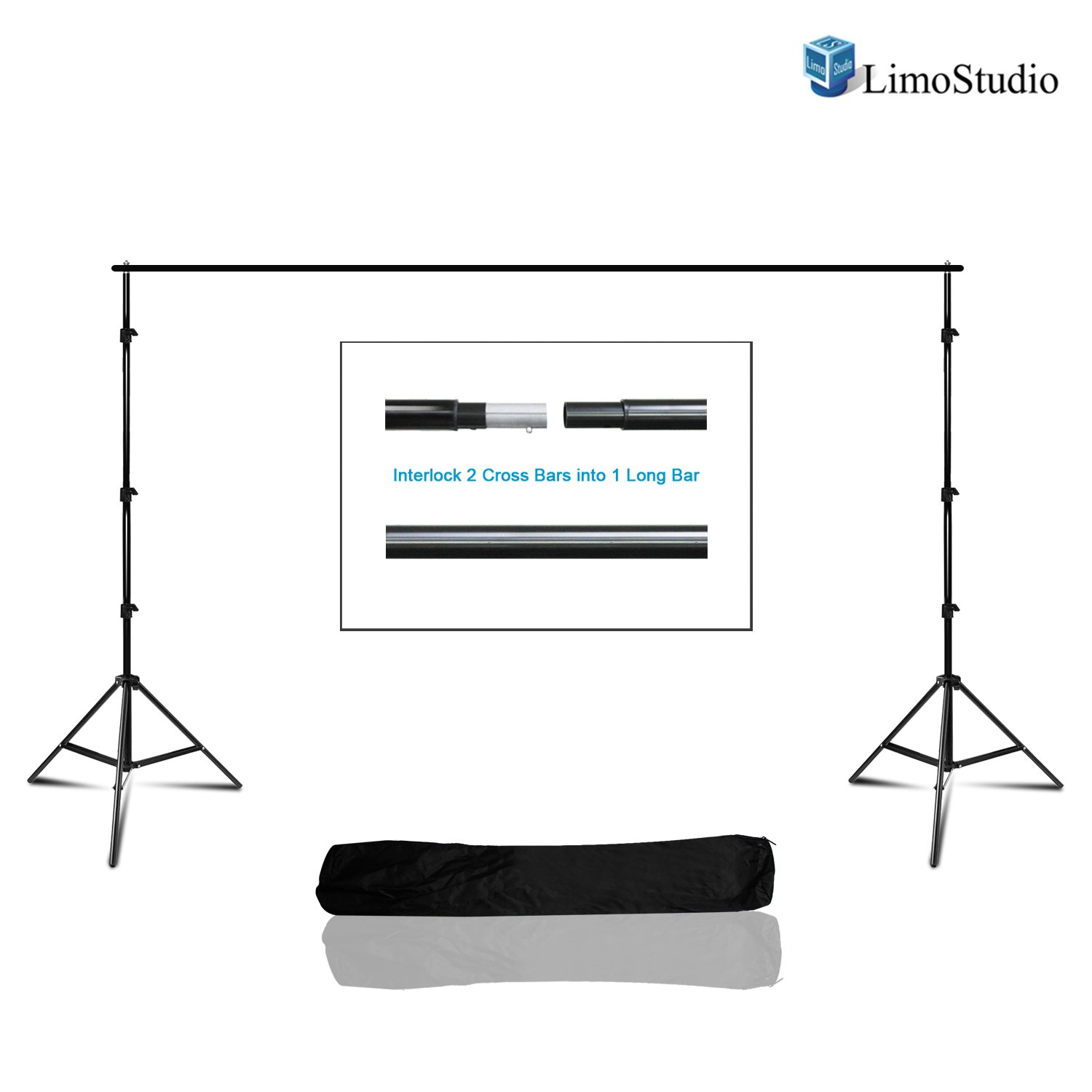 LimoStudio Photo Studio 10 x 7.5 Ft. Adjustable Background Stand Backdrop Support System Kit with Carry Bag, AGG2378