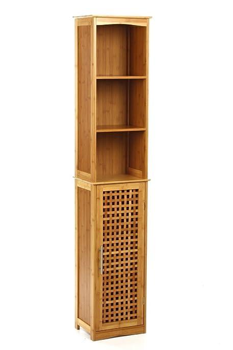 Meuble colonne de salle de bain bambou Amazon Cuisine & Maison