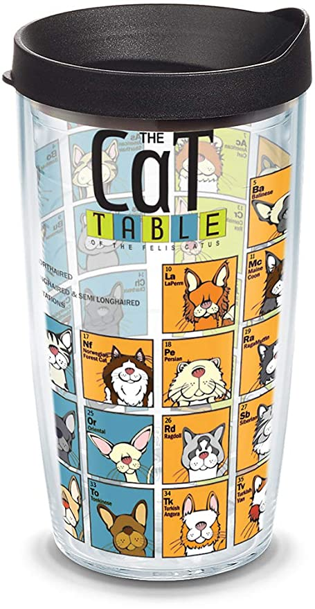 6a425529ecd Amazon.com: Tervis 1090080 Cat Periodic Table Insulated Tumbler with Wrap  and Black Lid, 16oz, Clear: Travel Mugs: Kitchen & Dining