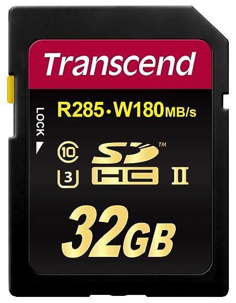 Transcend 32GB SDHC UHS-II U3 Memoria Flash Clase 10 - Tarjeta de Memoria (32 GB, SDHC, Clase 10, UHS-II, 285 MB/s, Negro)
