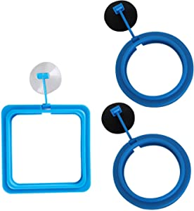 Luxtrip 3 Pack Feeding Ring Aquarium Fish Feeding Ring Practical Floating Food Square Circle Square and Round with Suction Cup