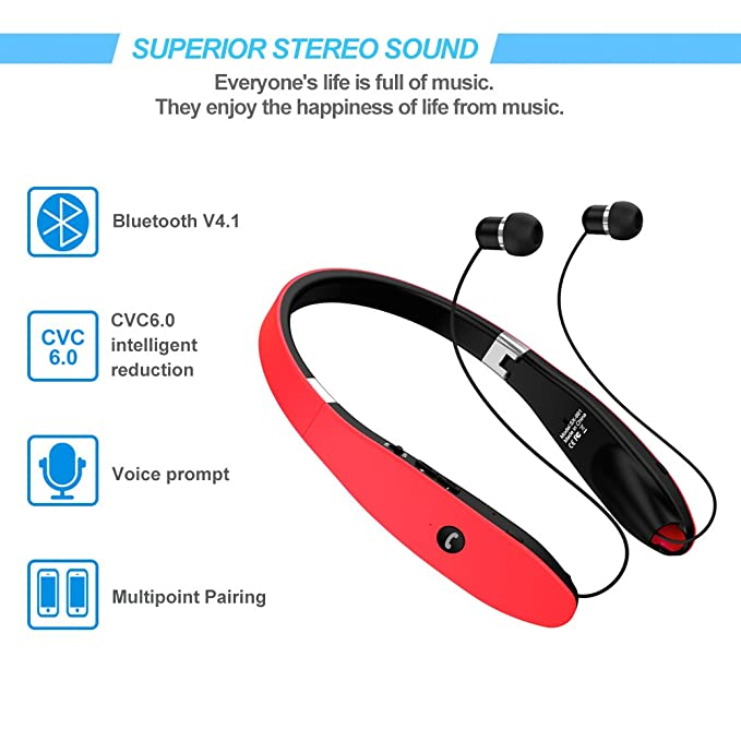 Bluetooth Headset, Bluetooth Headphones SX991-LBell Wireless Neckband  Design with Foldable Retractable Headset for X/ 8/7 Plus Samsung Galaxy S8  Note