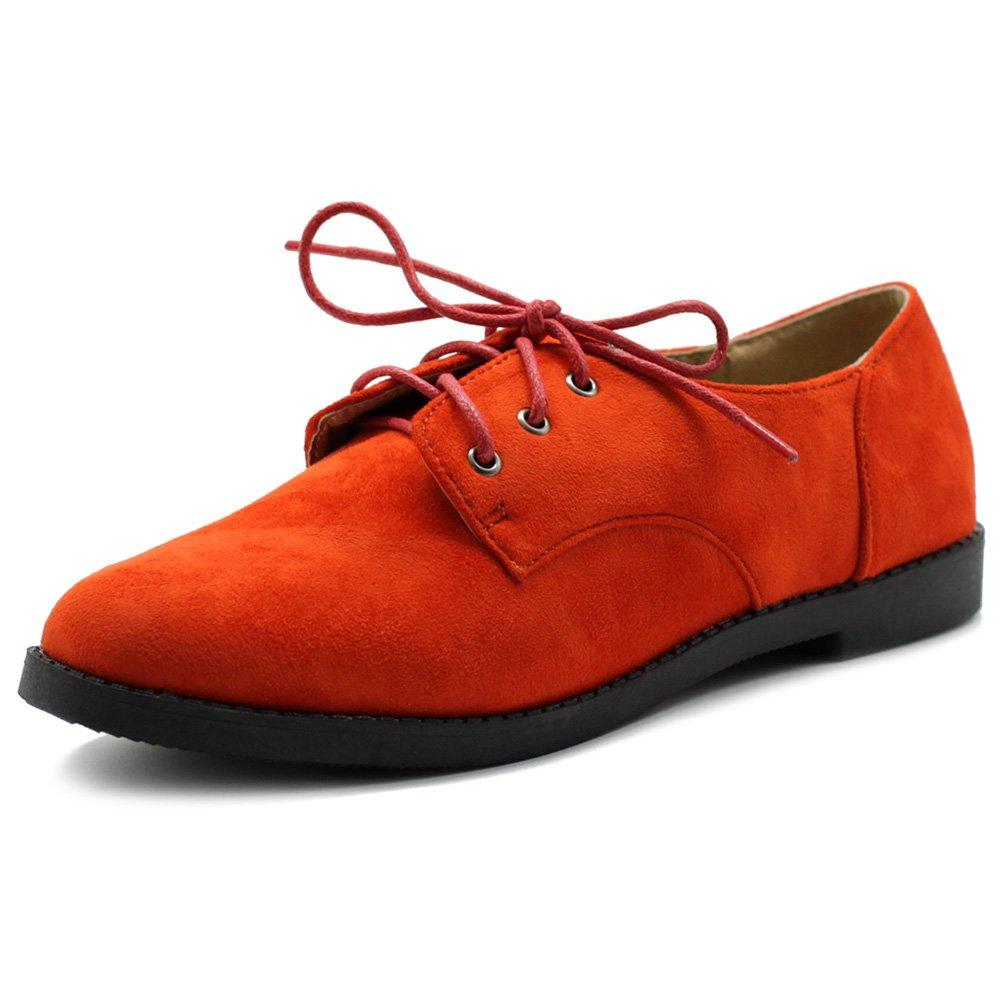 Ollio Women Classic Flat Shoe Lace Up Faux Suede Oxford ZM2910(8.5 B(M) US, Orange)