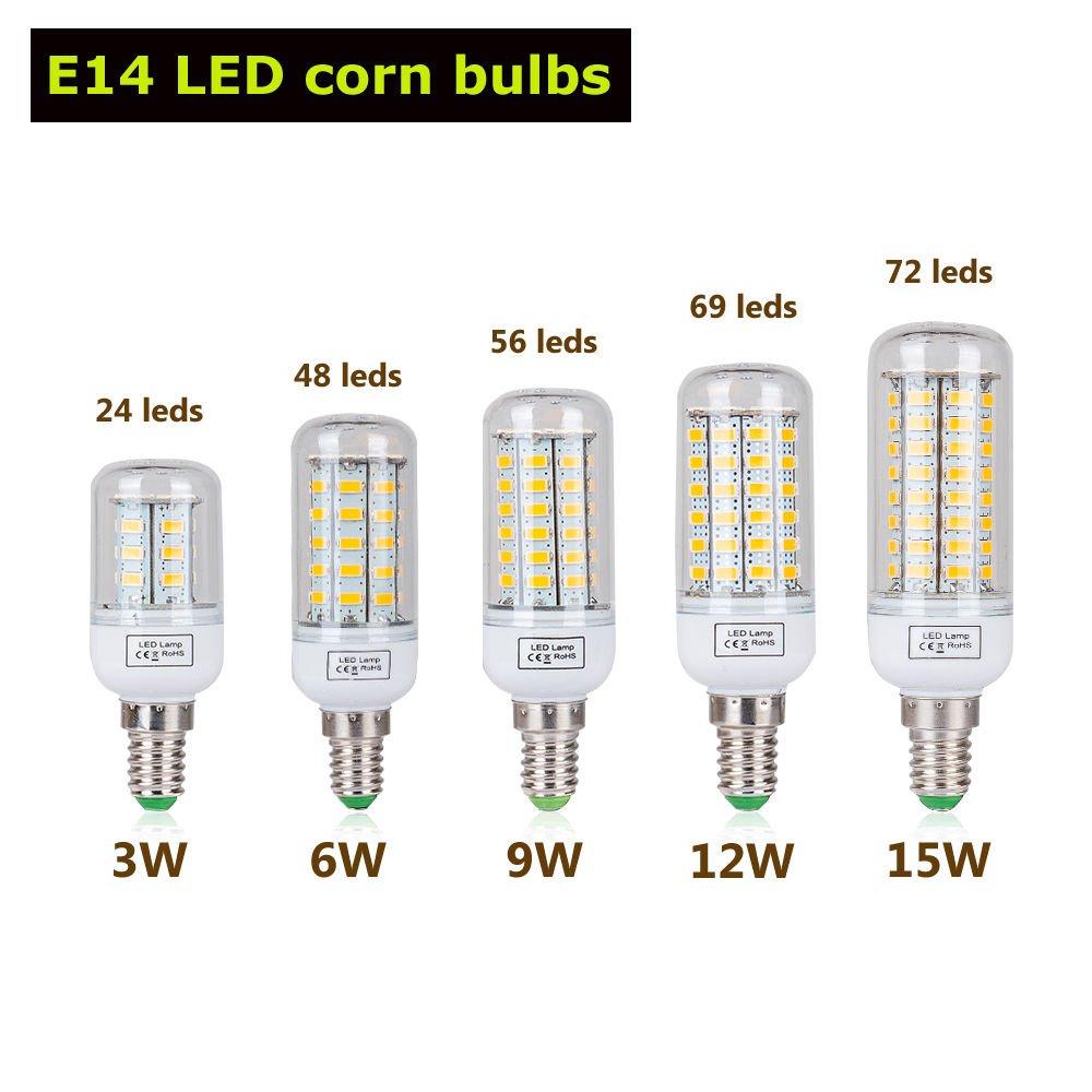 Neaer e27 / e14 / b22 / g9 3 W 6 W 9 W 12 W 15 W SMD 5730 LEDトウモロコシ電球スポットライトランプ、10packs B07594RKX3 E14 15W73LEDs