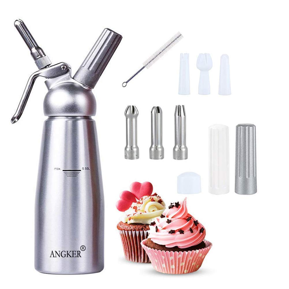 Angker Whipped Cream, Cream foamer, 0.5 Liter Professional Aluminum Whipped Cream Dispenser W/3 Decorating Nozzles & Free Desserts Recipes Uses Standard N20 Cartridges (not included)