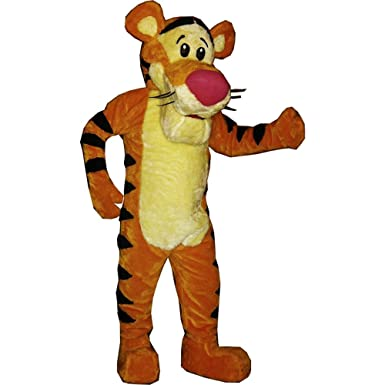 cfbbaea8f656 Amazon.com  KF Tigger Winnie The Pooh Mascot Costume Adult Quality Orange  Tiger Halloween Outfit  Clothing