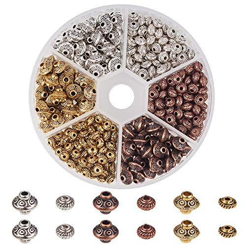 Copper Bead Antique Caps - PH PandaHall 1 Box 450 PCS 6.5mm/ 5x3mm Tibetan Alloy Spacer Beads Jewelry Findings Accessories Bracelet Necklace Jewelry Making (Antique Golden, Antique Silver, Red Copper)