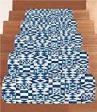 iPrint Non-Slip Carpets Stair Treads,Navy Blue Decor,Abstract Geometric Potugal Style Ceramic Texture and Unusual Mosaic Patterns Artprint,White Blue,(Set of 5) 8.6''x27.5''