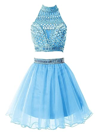 Short Two Pieces Prom Dress Tulle Crystal Beading Homecoming Party Dresses (Blue)