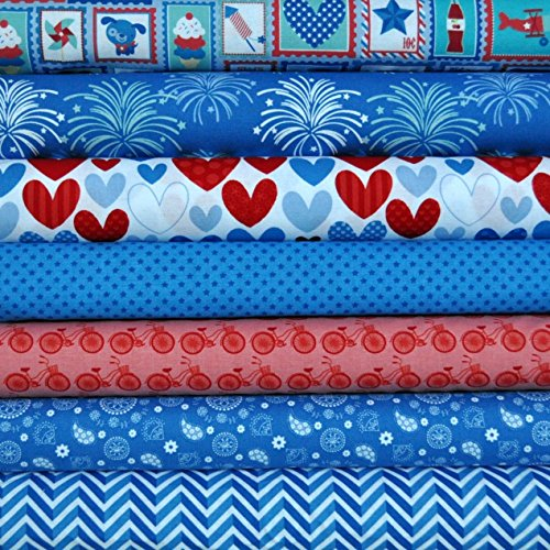Star Spangled Blue 7 Fabric Fat Quarters by Doodlebug for sale  Delivered anywhere in USA