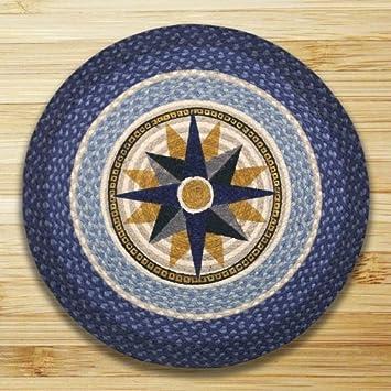 Compass 27u0026quot; Round Braided Area Rug Carpet Mat