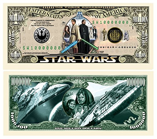 Set of 5 - Limited Edition Star Wars Collectible Million Dollar Bill