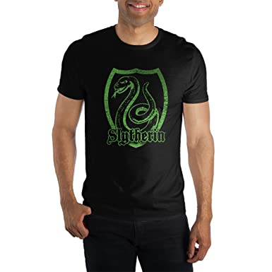 b92d70301d3f1 Harry Potter Slytherin Logo Specialty Soft Hand Print Men's Black Tee T-Shirt  Shirt-