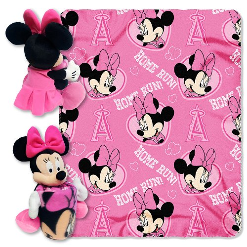 MLB Los Angeles Angels Minnie Mouse 40x50-Inch Throw with 14-Inch Hugger - Angel Hugger