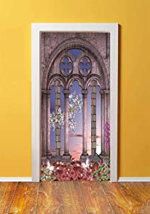 Gothic 3D Door Sticker Wall Decals Mural Wallpaper,Ancient Colonnade in Secret Garden with Flowers at Sunset Enchanted Forest,DIY Art Home Decor Poster Decoration 30.3x78.9840,Grey Blue Lilac Red