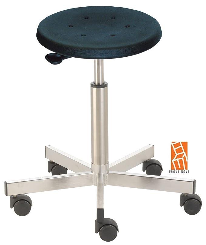 Taburete de acero inoxidable 3921, asiento de espuma de poliuretano de Negra, hub aprox. 50 - 69 cm, ruedas: Amazon.es: Oficina y papelería