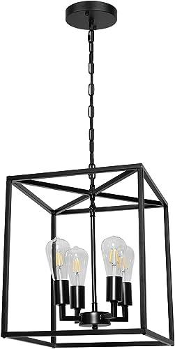 4-Light Industrial Metal Farmhouse Chandelier Black Lantern Pendant Light Hanging Light Fixture