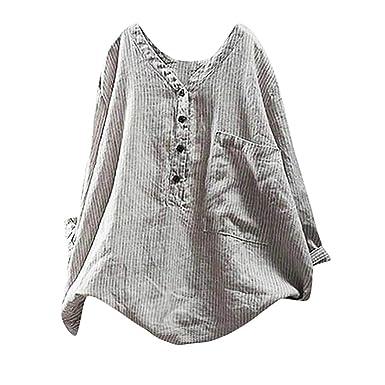 fcd56b41e2 Letdown Women Cotton Linen Shirts Long Sleeve Button Down Pullover Striped  Top T Shirt Plus Size