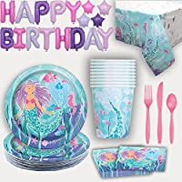 Mermaid Party Supplies for 16. Plates, Cups, Napkins, Tablecloth, Cutlery, Happy Birthday Letter Balloon Banner - Party Supply and Decoration set for Mermaid under the Sea Birthday Party