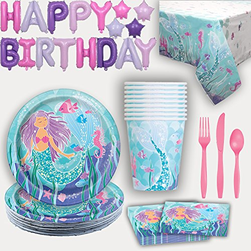 Mermaid Party Supplies for 16. Plates, Cups, Napkins, Tablecloth, Cutlery, Happy Birthday Letter Balloon Banner - Party Supply and Decoration set for Mermaid under the Sea Birthday Party]()
