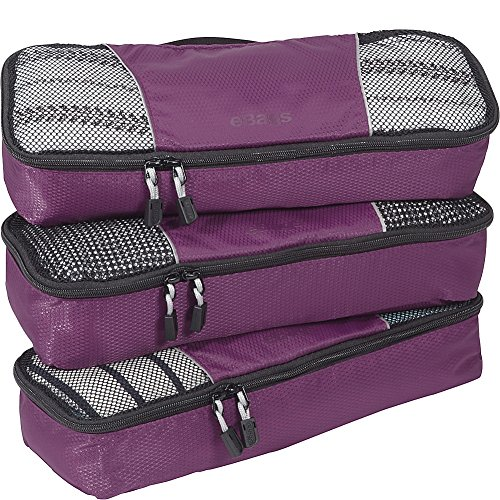 (eBags Slim Packing Cubes for Travel - Organizers - 3pc Set - (Eggplant) )