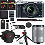 Canon EOS M6 (Silver) 18-150mm f/3.5-6.3 IS STM, Ritz Gear SD 32GB 2 Pack, Filter Kit, Photo Pack, Tabletop Tripod, Wireless Remote Control, Card Reader, Memory Card Wallet, and Accessory Bundle