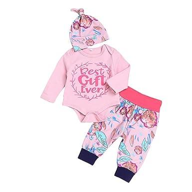 057da540246f3 Pyjama Bébé Marque Longra Ensembles pantalons et haut Bébé Fille Floral  Lettre Imprimé Body Bébé Combinaison