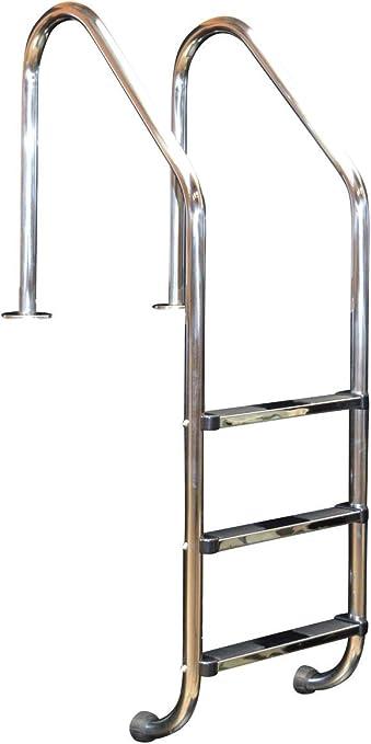 De acero inoxidable con tapa de piscina escalera de 3-niveles de anclaje de una altura de la base: Amazon.es: Hogar