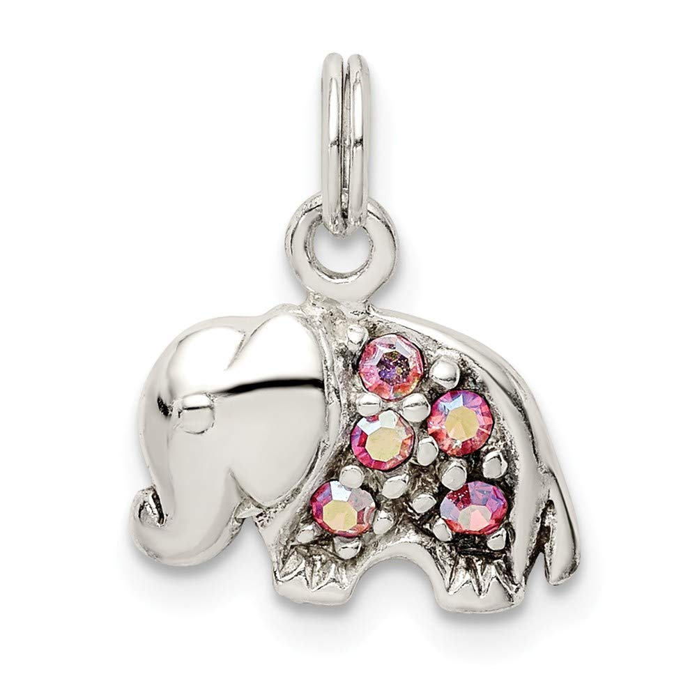Sterling Silver Crystal Elephant Charm Pendant