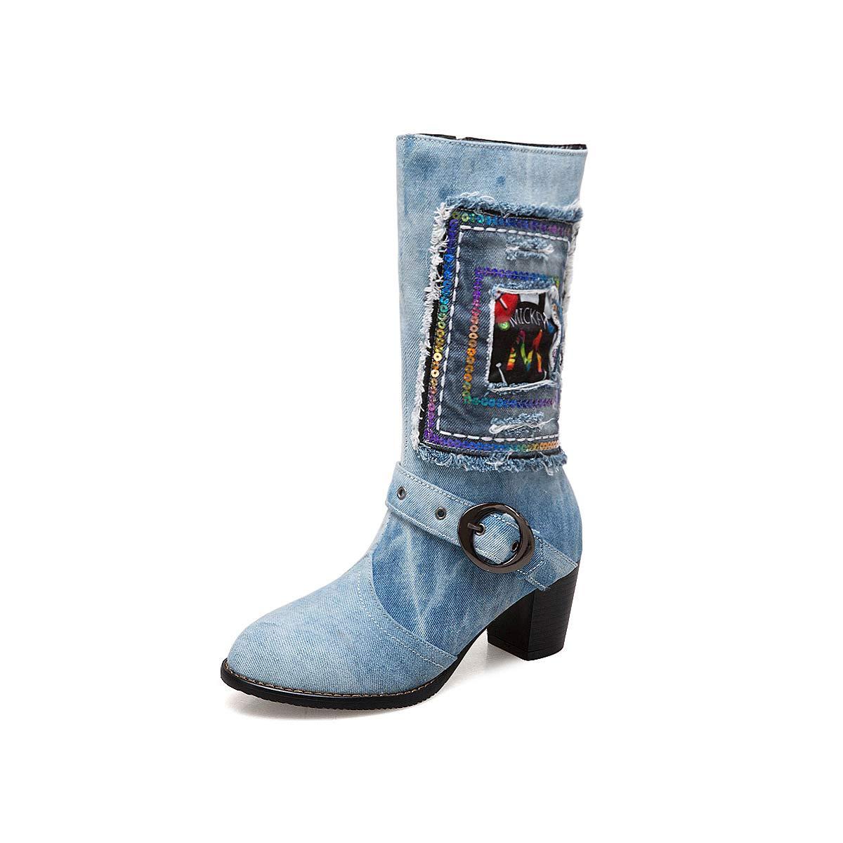 Lsm-Stiefel Damen Denim Stoff Runde Toe Block Heel Heels Middle Stiefel