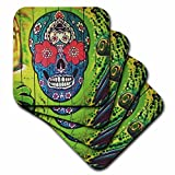 3dRose cst_255509_3 Image of Day of Dead Skull Painted on Lime Green Door Set of 4 Ceramic Tile Coasters