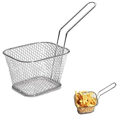 Fousamax - Mini Cesta de freír de Acero Inoxidable para Restaurante, Chip y Peces, Muy Resistente