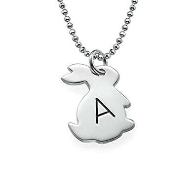 87a985405ddb8 Amazon.com: Amandasessom Custom Personalized Tiny Rabbit Necklace ...